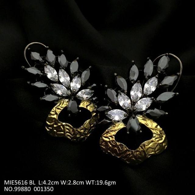 High Class American Diamond earrings - Black Coloured