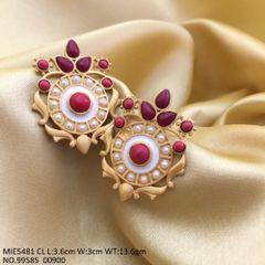 Brass + Semi Precious stone earring