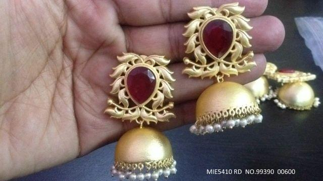 Brass+ Semi precious stone jhumki with an year warranty