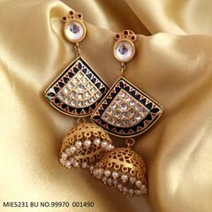 Studded with semi precious stones ,its high class earring made with base metal brass