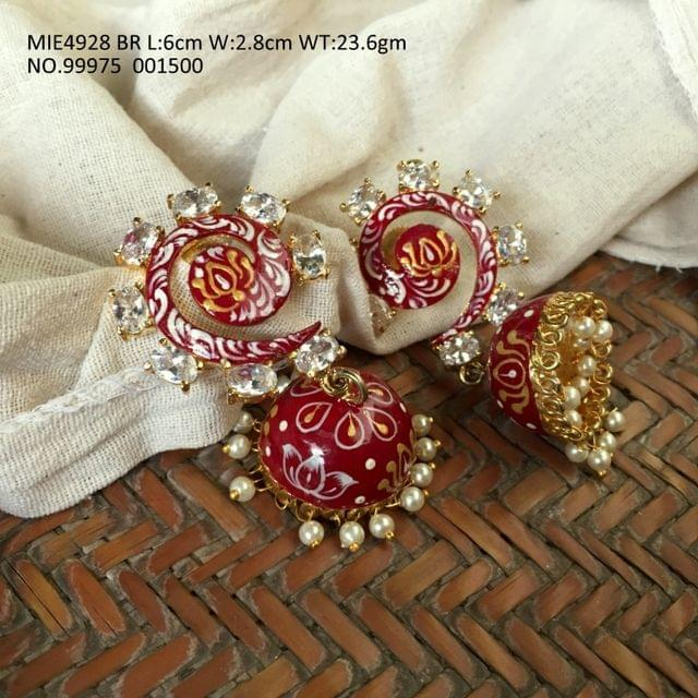 High quality brass earrings with high class hand painted work