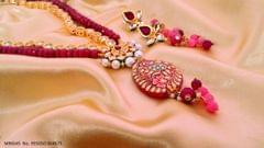 Gold plated Necklace set studded with Kundan and Natural Stone