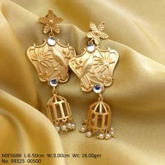 High quality Brass earring with 1 micron matt gold plating