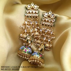 High quality Brass earring ,with Kundan Stones and hand printed base