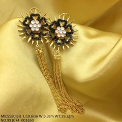 Brass+ American Diamond Dangler studded with Kundan Stones