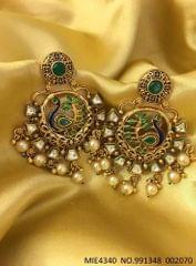 High quality Brass earring ,with Kundan Stones and pearls, plating matt gold