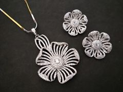 American Diamond Pendant Set with an year warranty