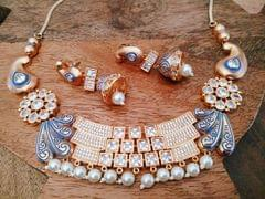 High quality  necklace set studded with Kundan Stones with an year warranty