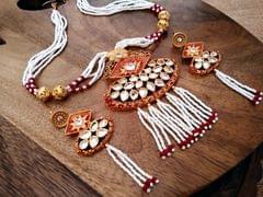 Beautiful Kundan Stone Studded ,American Diamond Necklace set with semi precious beads chain