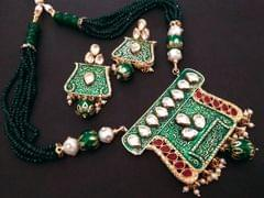 Buy this beautiful Kundan Stone Studded  Necklace set with semi precious beads chain