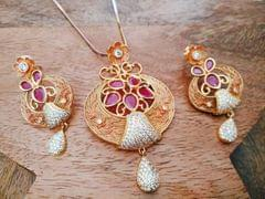 Peacock Designed Gold plated Pendant set studded with American Diamond set