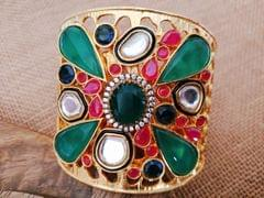 Gold plated American Diamond Studded,Kundan Stones studded Kada with an year warranty