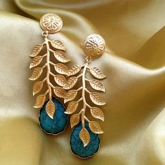 Gold plated earring studded with semi precious stone-1 year warranty