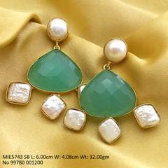 Brass+  Baroque pearl & chalcedony Dangler with an year warranty -  Sky Blue Colored