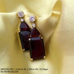 American Diamond earring with an year warranty-RED COLOUR