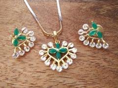 Buy this beautiful Green American Diamond Pendant Set with warranty