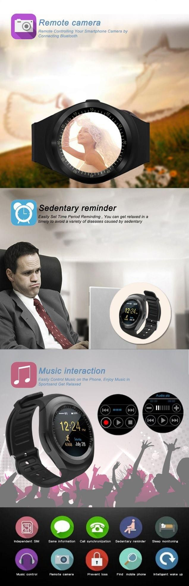 Y1 Smart Watch Support Nano Sim Card True Gadgets