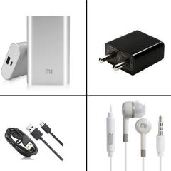 MI 10000mAh Powerbank + MI EarPhone + 2Amp USB Charger + Fast Charge USB Cable