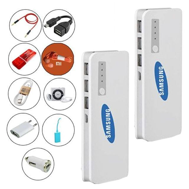 2 Samsung Power Banks 20800 mAh+9 Accessories