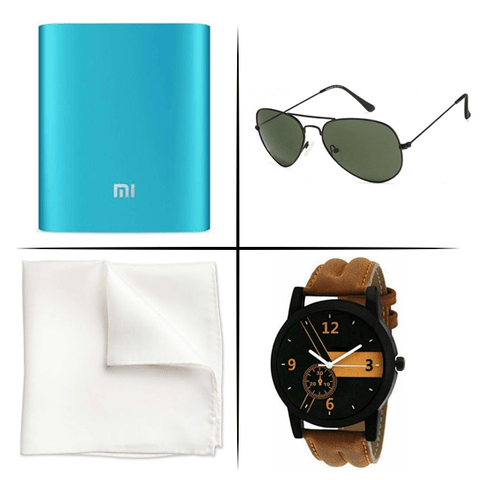 Stylish Power Combo (MI 10400 mAh Power Bank + Sunglasses + SC Men Watch + Handkerchief)