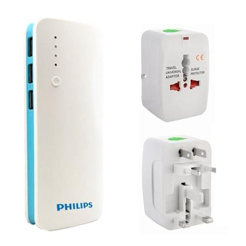 Philips 25000 mah power bank + Universal travel adapter