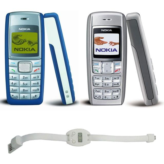 Nokia 1110i & 1600 Mobiles +  Wristband USB Charging Cable with Watch