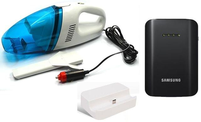 Car Vaccum Cleaner + Samsung 9000 mAh Powerbank and Charging Dock