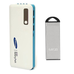 Samsung 25000 mAh Power Bank and 64 GB Pendrive