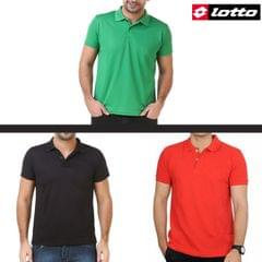 LOTTO Solid Men's Polo Neck T-Shirts (Pack of 3)