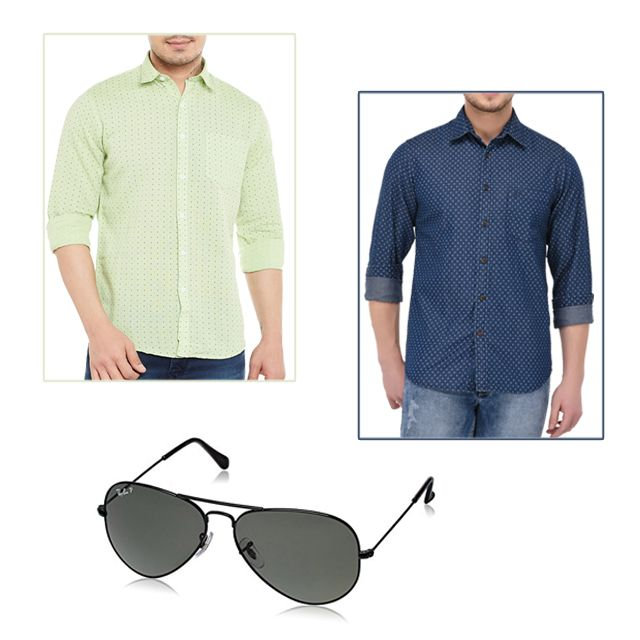 2 Casual Shirts and Sunglasses