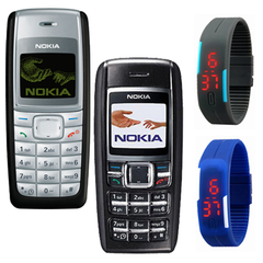 Nokia 1110i & 1600 Mobiles + 2 LED watches