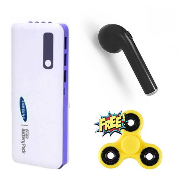 Samsung 20800 mAh Power Bank + HBQ-i7 Wireless Bluetooth with Free Fidget Spinner