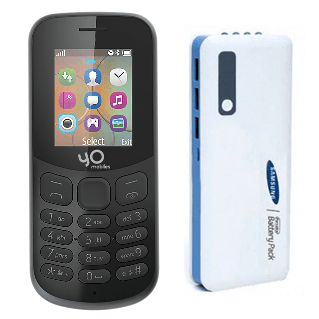 Yo Mobile Model 130 with 4G Support + Samsung 20800mAh Power Bank