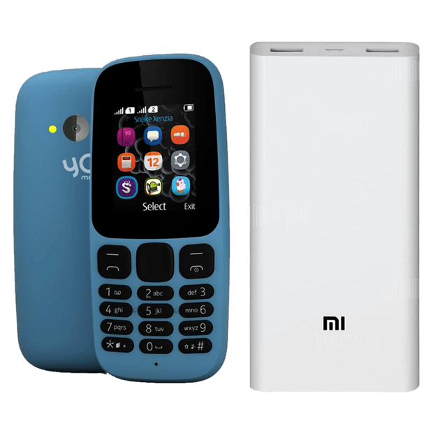 Yo Mobile Model 105 with 4G Support + MI 20000mAh Power Bank