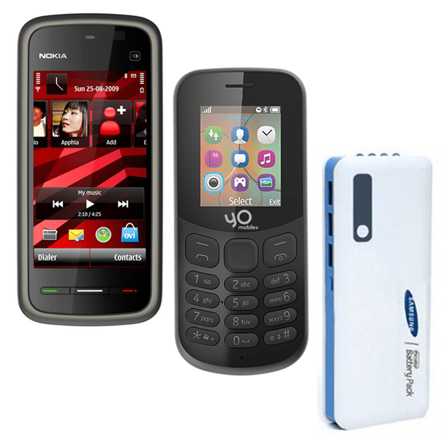 Nokia 5233 and Yo Model 130 4G Mobiles with Samsung 20800 mAh Power Bank
