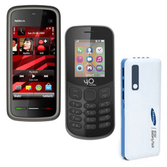 Nokia 5233 and Yo Model 130 4G Mobiles with Samsung 20800 mAh Power Bank