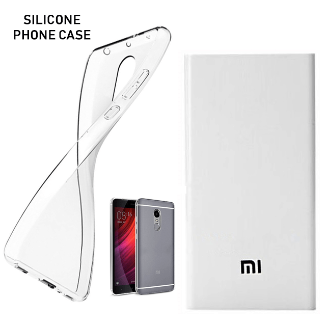 Xiaomi Redmi Note 4 Crystal Clear Shockproof Anti Scratch Soft Silicone Phone Case and MI 20800mAh Power Bank
