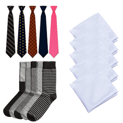 Combo for Men - Pack of 5 Necktie + 5 Hanky + 5 Socks
