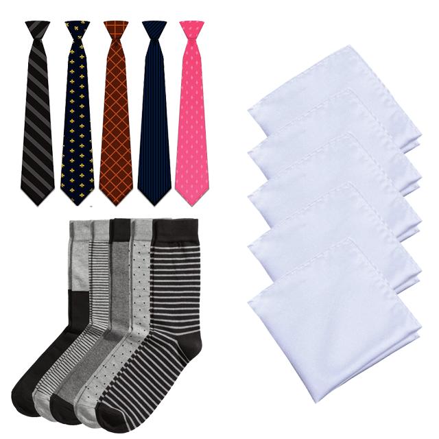 Combo for Men - Pack of 5 Necktie + 5 Hanky + 5 Socks