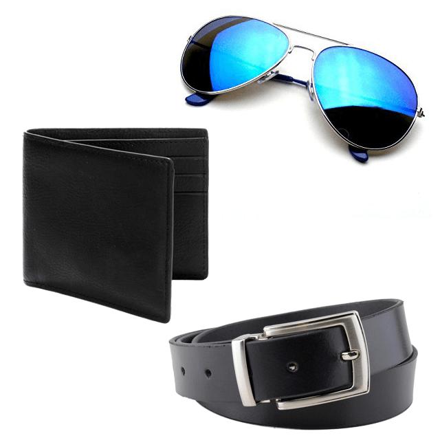 Men Fashion Combo -Belt + Wallet + Sunglasses