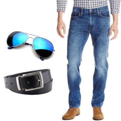 Cool Combo - 1 Jeans + Sunglasses + Casual Belt