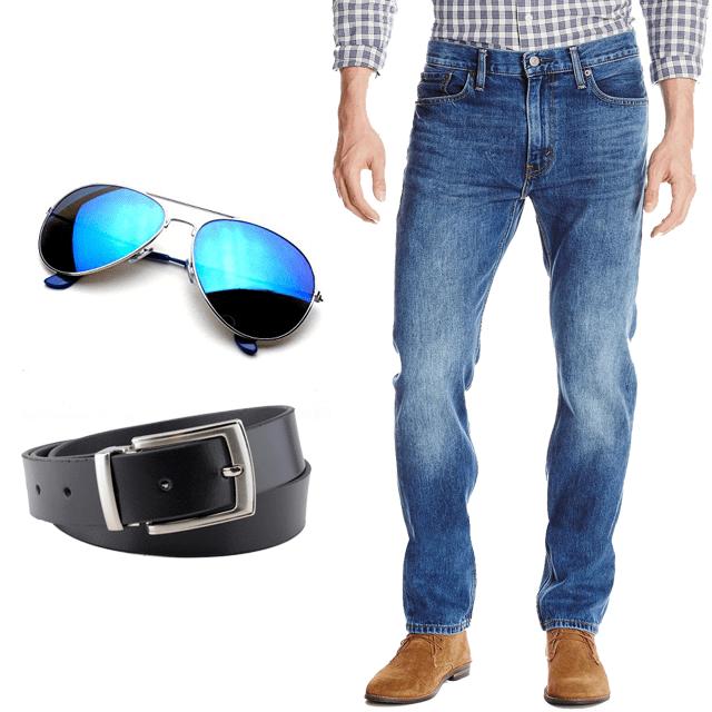 Cool Combo - 1 Jeans + Sunglasses + Casual Belt