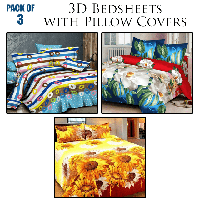 3D Print Double Bedsheet with Pillow Covers (Pack of 3)