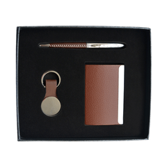 Gift Box Set of Business Card Holder, Pen & Key Chain