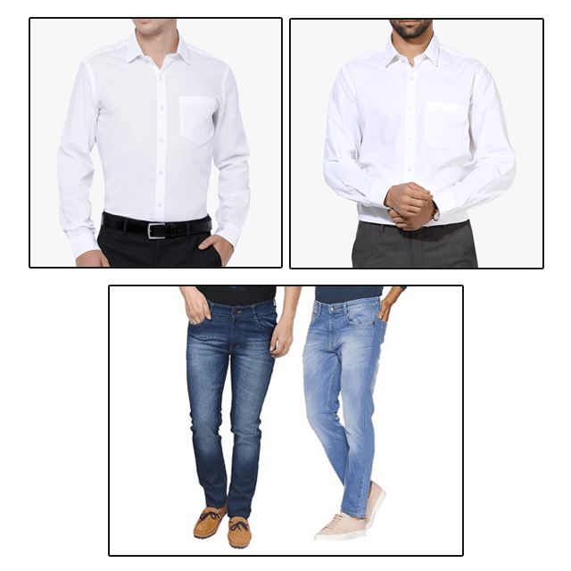 2 Jeans and 2 White Shirts