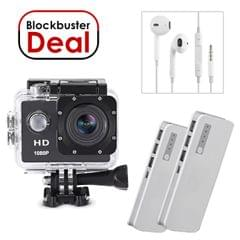HD Action Camera with 2 Power Banks of 20000mAh & Earphones