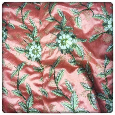 Poly Dupion flower  Embroidery