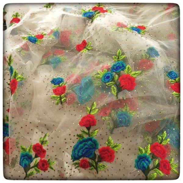 Net Embroidery Booti Stone