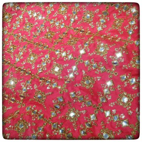 Semi Raw Silk Mirror Embroidery