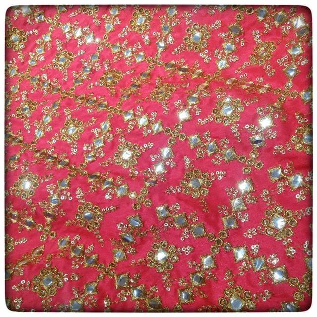 Semi Raw Silk Mirror Embroidery